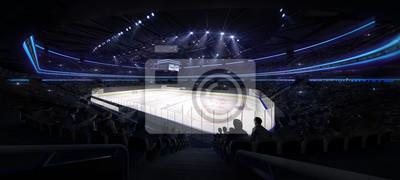 ice hockey arena interior angle view illuminated by spotlights, hockey and skating stadium indoor 3D render illustration background, my own design