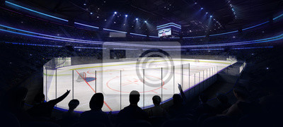 ice hockey arena interior corner angle view with fans front, hockey and skating stadium indoor 3D render illustration background, my own design