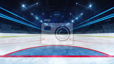 Ice hockey playground and illuminated indoor arena with fans, goal line view, professional ice hockey sport 3D render