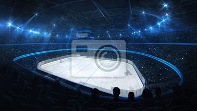 Ice hockey stadium with spotlights and crowd of fans, corner view, professional ice hockey sport 3D render