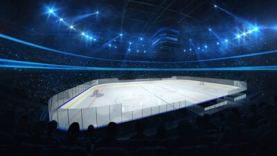Ice hockey stadium with spotlights and crowd of fans, professional ice hockey sport 3D render
