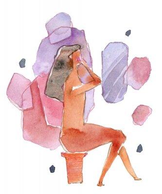 Naklejka Icon of make-up girl isolated on white. Watercolor illustration.