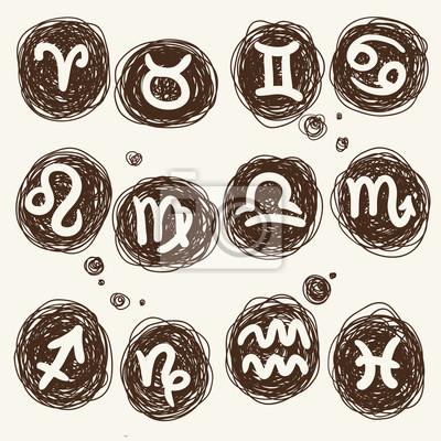 icon zodiaku ustawiony na okrągłej tekstury - Bazgroły