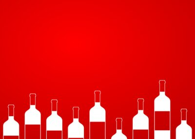 Naklejka Icono plano botellas de vino sin ALINEAR sobre Fondo degradado # 1