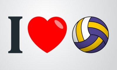 Naklejka Icono plano kocham voleibol kolor en fondo degradado