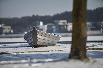Icy sail boat, Latvia, Boat at the winter coast.