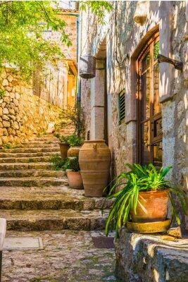 Naklejka Idylliczny widok z śródziemnego rustykalnym domu i kamiennych schodach