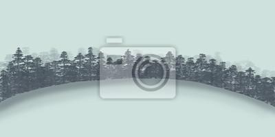 iglastego lasu w zimie / minimalistyczna Malowanie / illustrati