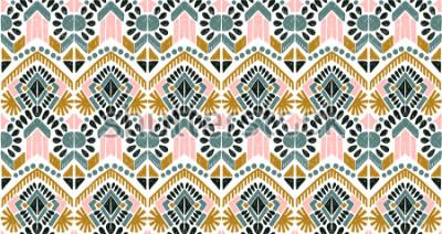 Naklejka Ikat geometric folklore ornament. Tribal ethnic vector texture. Seamless striped  pattern in Aztec style. Figure tribal  embroidery. Indian, Scandinavian, Gypsy, Mexican, folk pattern.