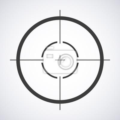 Naklejka ikona docelowa, wzrok symbol snajper samodzielnie na szarym tle, Crosshair i mają stylowy ilustracji wektorowych dla projektu WWW