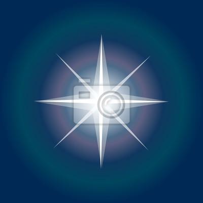 Naklejka Ikona gwiazd. Światła gwiazd Północy. Christmas Star na tle nieba nocy. Błyszczący Wektor. Sparkle starburst. Gwiazda Północna z promieniami i wektorem eksplozji, Symbol gwiazdy porannej. Inspirująca