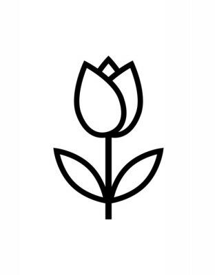 Naklejka ikona kwiat tulipan