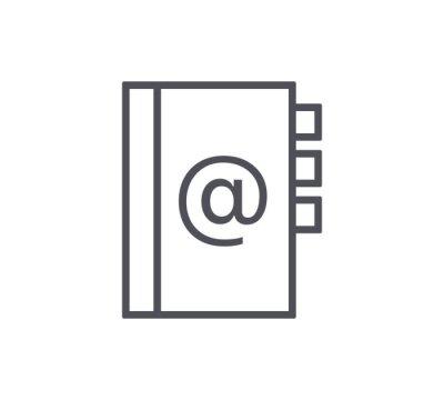 Ikona linii adresowej książki adresowej