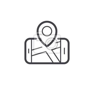Ikona linii nawigacji. Edytowalny obrys.
