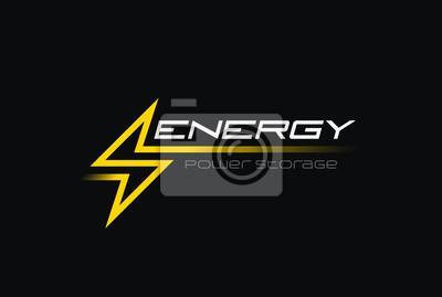 Naklejka Ikona liniowej baterii wektor Flash Thunderbolt Energy Power Logo
