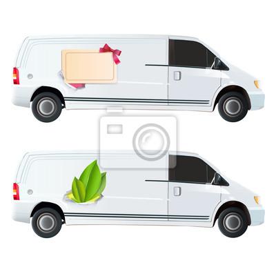 Ikona liścia i karty wydrukowane na vana.