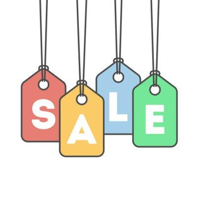 Ikona na białym tle sprzedaż na białym tle. Koncepcja sprzedaży detalicznej, kuponów i sprzedaży. Tagi cenowe.
