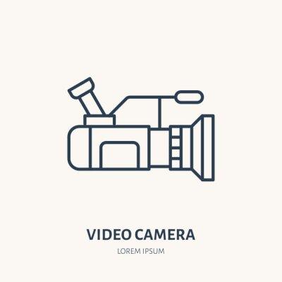 Ikona płaskiej linii kamery wideo. Znak urządzenia do produkcji filmu. Cienkie liniowe logo do sklepu z wyposażeniem.