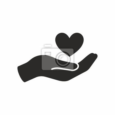 Naklejka Ikona serca w dłoń