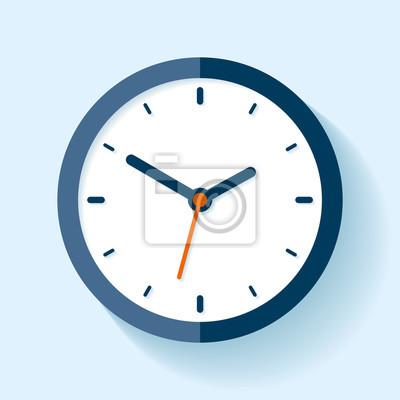 Naklejka Ikona zegara w stylu płaskim, timer na niebieskim tle. Zegarek firmy. Projektowanie elementów projektu dla Ciebie
