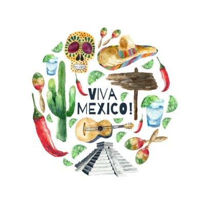 Naklejka Ikony Akwarela Meksyk.