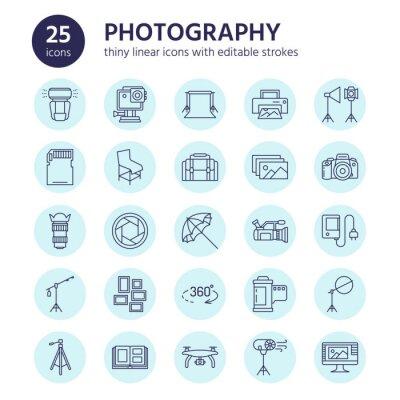 Ikony fotografii płaskich linii. Cyfrowy aparat fotograficzny, zdjęcia, oświetlenie, kamery wideo, akcesoria fotograficzne, karta pamięci, folia na obiektywy statywu. Ilustracji wektorowych, znaki do