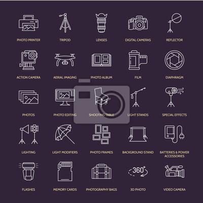 Ikony fotografii płaskich linii. Cyfrowy aparat fotograficzny, zdjęcia, oświetlenie, kamery wideo, akcesoria fotograficzne, karta pamięci, folia z obiektywem statywu. Ilustracji wektorowych, znaki do
