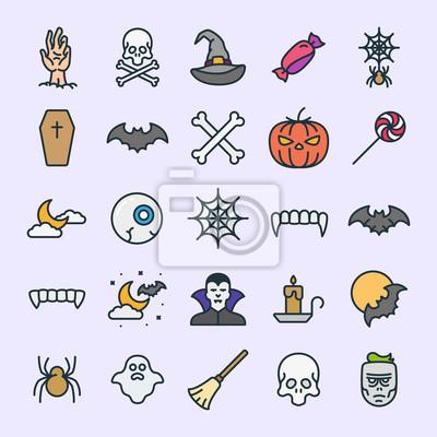 Ikony Halloween Minimalistyczne Kolorowe Zarys linii prostej Piktogramy skoku Zestaw znaków symboli