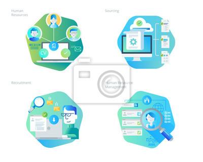 Ikony projektowania materiałów przeznaczonych na zasoby ludzkie, rekrutację, zarządzanie zasobami ludzkimi, karierę. Zestaw UI / UX do projektowania stron internetowych, aplikacji, interfejsu przenośn