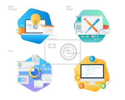 Ikony projektowania materiałów zaprojektowanych do projektowania i rozwijania stron internetowych, SEO, menedżer sieci. Zestaw UI / UX do projektowania stron internetowych, aplikacji, interfejsu przen