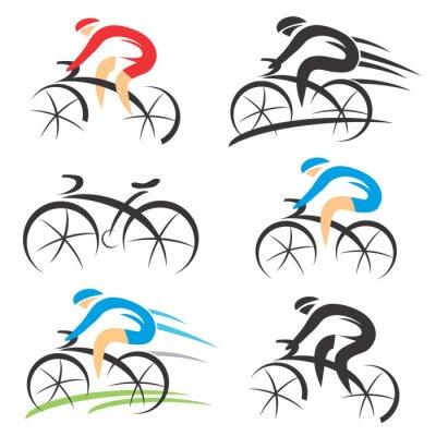 Naklejka Ikony z stylizowane rowerzysty