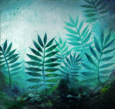 Naklejka Illustration of a tropical forest landscape with plants in acrylic painting