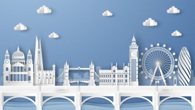 Naklejka Illustration of city scene with famous architectures in London, England. Elements of London city, England. London city scene of England. paper cut and craft style. vector, illustration.