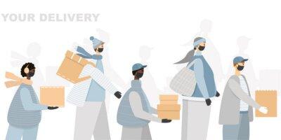 Illustration of delivery people in medical facial masks and gloves delivering parcels.