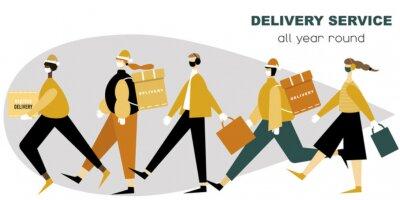 Illustration of delivery people in medical facial masks and gloves delivering parcels. Christmas delivery.