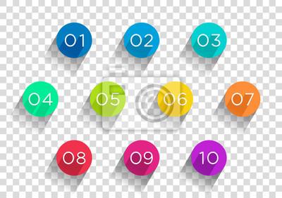 Naklejka Ilość Bullet Points płaskie koła Transparent 1 do 10