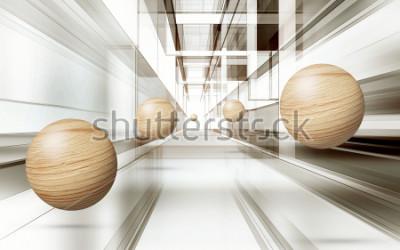 Naklejka Ilustracja 3D brown sfery wzór na dekoracyjnej tła 3D tapecie. Graficzna sztuka współczesna