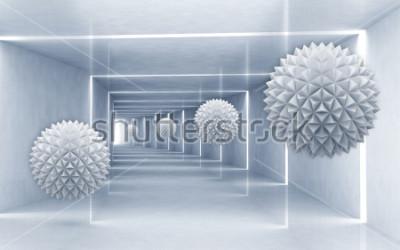 Naklejka Ilustracja 3D crystal ball wzór na dekoracyjne srebrne tło 3D tapety. Graficzna sztuka współczesna