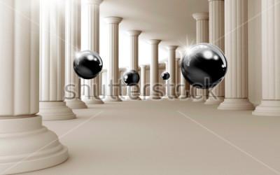 Naklejka Ilustracja 3D czarny wzór piłki na tle tapety dekoracyjne 3D. Graficzna sztuka współczesna