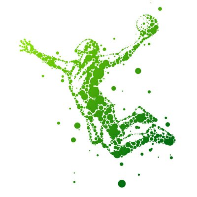 Naklejka Ilustracja abstrakcyjna koszykarz w skoku