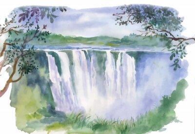 Naklejka Ilustracja akwarela piękny wodospad