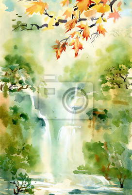 Ilustracja akwarela piękny wodospad i góry