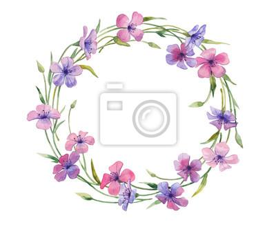 Ilustracja akwarela wieniec kwiatów.