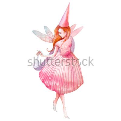 Naklejka Ilustracja akwarela wróżki. Ręcznie malowane postać z bajki na białym tle. Składa dziewczyna ze skrzydłami sztuki