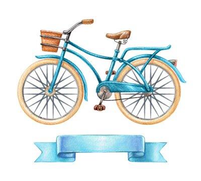 Naklejka Ilustracja Akwarele, rower niebieski, retro rower, puste wstążki znacznik, transparentu, etykieta, clipart transportowych samodzielnie na białym tle