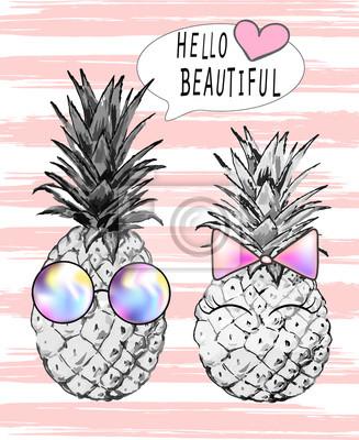 Ilustracja ananasowego chłopiec w okularach i dziewczynka z różowym dziobem. Nadruki - witam piękne. Drukuj, t-shirt, Wektor