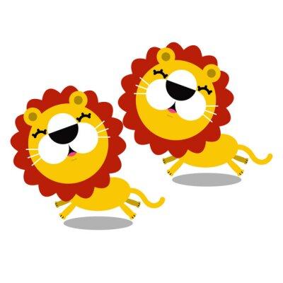 Naklejka Ilustracja cartoon słodkie lwy