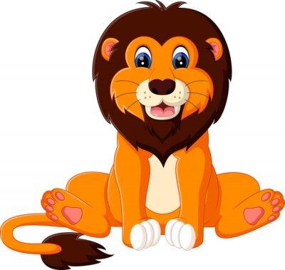 Naklejka Ilustracja cute baby lwa kreskówki