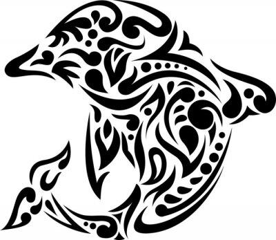 Naklejka Ilustracja delfinów sztuki tatuażu