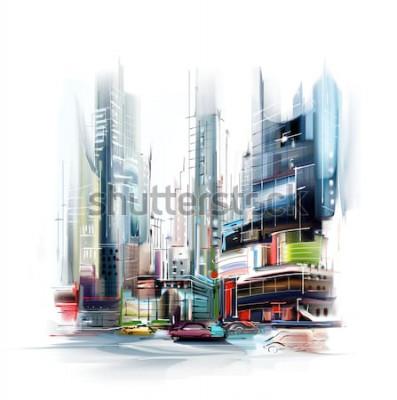 Naklejka Ilustracja europejskiej ulicy miasta